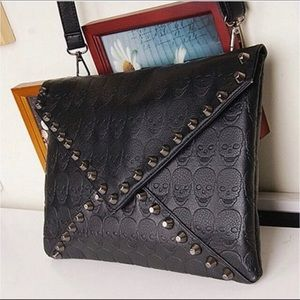 Small Black Skull Studded Clutch